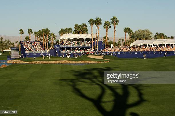 The 18th hole on the Palmer Private course at PGA West during the final round of the Bob Hope Chrysler Classic on January 25 2009 in La Quinta...