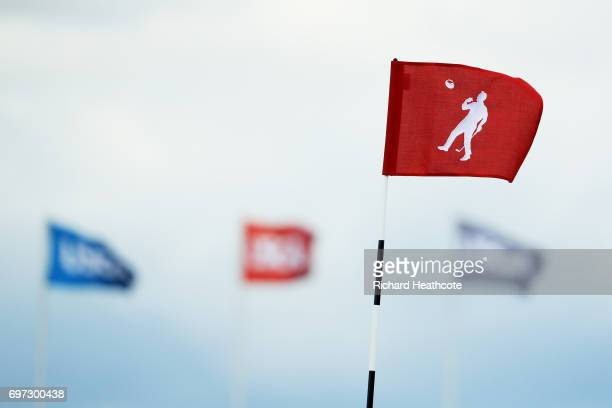 The 18th pin flag with a representation of Arnold Palmer's winning moment from the 1960 US Open is diaplayed during the final round of the 2017 US...