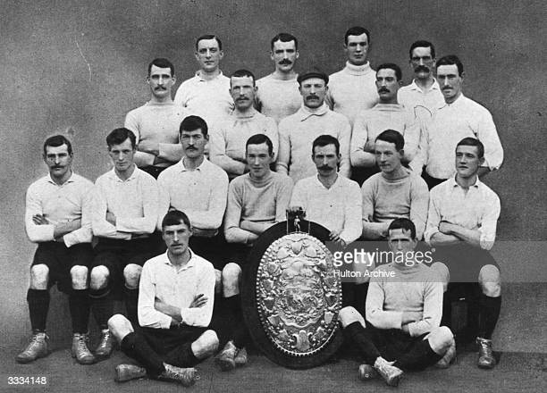 The 1901 FA Cup winning Tottenham Hotspur team with the Sheriff of London shield which they won from Corinthians
