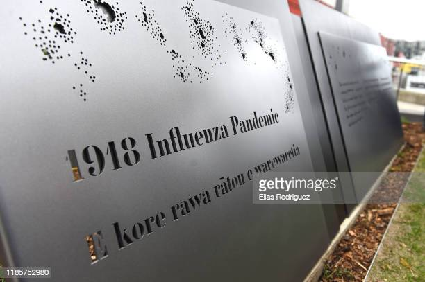 The 1918 Influenza Pandemic Memorial is unveiled at Pukeahu War Memorial Park on November 06 2019 in Wellington New Zealand An influenza pandemic...