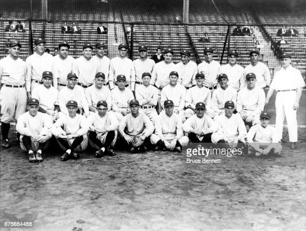 "The 1927 New York Yankees pose for the team photo Walter ""Dutch"" Ruether, Joe Dugan, Ben Paschal, Benny Bengough, Myles Thomas, Mike Gazella, Ray..."