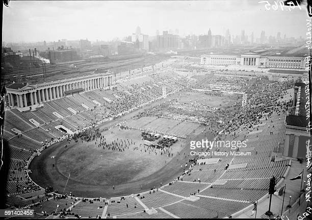 The 1933 Chicago World's Fair A Century of Progress International Exposition dedication at Soldier Field and parade Chicago Illinois 1933