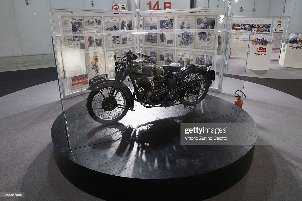 The 1937 Matchless Model X is displayed during the Matchless Official Presentation of the model X Reloaded on November 4, 2014 in Milan, Italy.