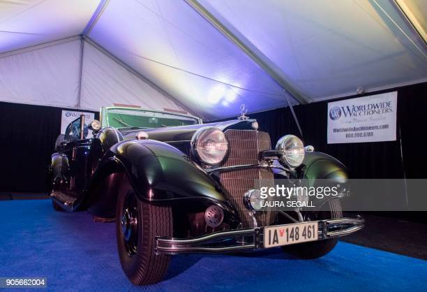 The 1939 luxury MercedesBenz 770K Grosser Offener Tourenwagen ordered by built for and used by Nazi German Fuhrer Adolf Hitler is photographed in...