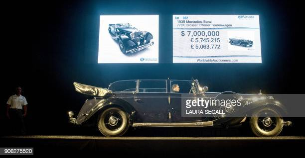 The 1939 MercedesBenz 770K Grosser Offener Tourenwagen ordered by built for and used by Nazi German tyrant Adolf Hitler was auctioned in Scottsdale...