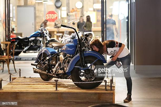TORONTO ON JUNE 16 The 1948 EL Panhead is cleaned for the grand opening The new HarleyDavidson showroom cafe on Ossington Avenue features a coffee...