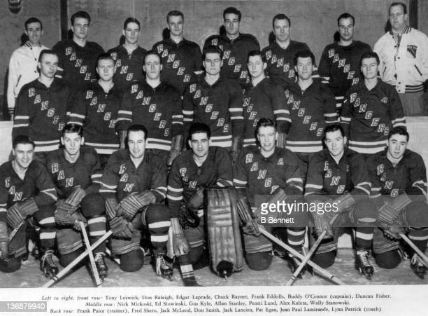 The 194950 New York Rangers pose for a team portrait circa 1950 in New York New York Front Row Tony Leswick Don Raleigh Edgar Laprade Chuck Rayner...