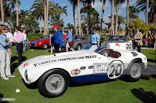 The 1953 Ferrari 375 Mille Miglia Spyder of Bruce McCaw sits on the green of the Breakers Hotel during the Concorso D'Eleganza portion of the 16th...