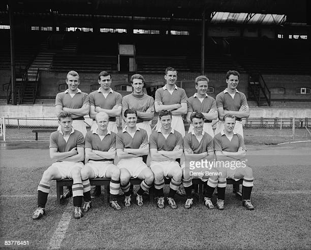The 195758 Chelsea football team posing at their Stamford Bridge ground 9th August 1957 Back row left to right Alan Dicks Peter Sillett Reg Matthews...