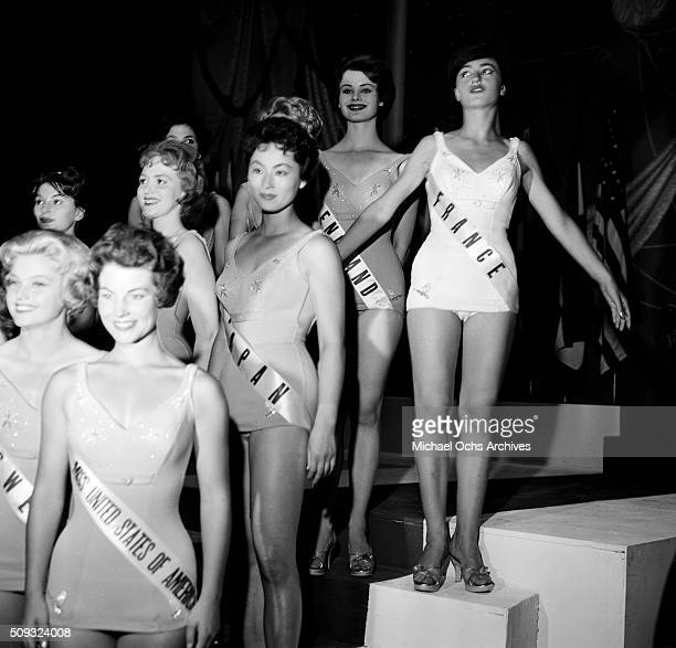 The 1959 Miss Universe Contestants pose during the pageant in Long Beach California 'n