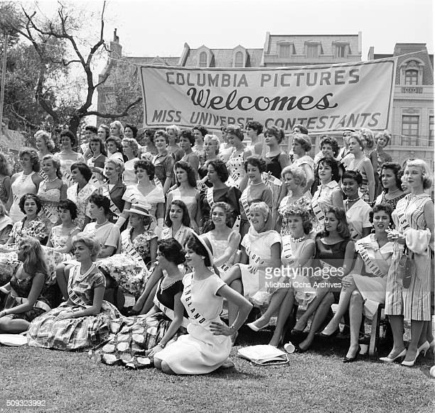 The 1959 Miss Universe Contestants poses as Columbia Pictures welcomes the ladies in Long Beach California 'n