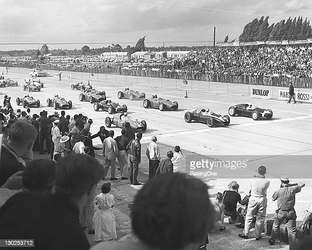 The 1959 United States Grand Prix Formula One race was held at Sebring International Raceway This photo is from the start of the event Car No 9...