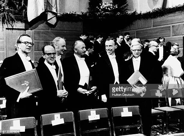 The 1962 Nobel Prize winners at the presentation ceremony at the Stockholm Stock Exchange Maurice Wilkins Max Perutz Francis Crick John Steinbeck...