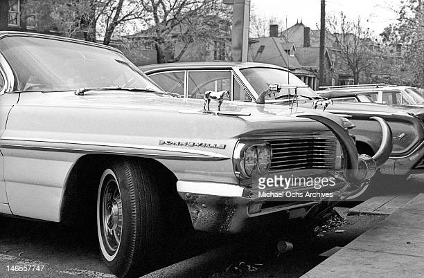 The 1962 Pontiac Bonneville convertible belonging to country music star Webb Pierce and customized by Nudie Cohn parked outside the offices and...