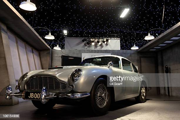 The 1964 Aston Martin DB5 used in the Goldfinger and Thunderball films is displayed prior to featuring in the 'Automobiles of London' rare car...