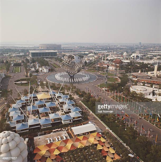 The 1964 New York World's Fair in Flushing Meadows Queens New York City as seen fron the observation towers of the New York State Pavilion circa 1965...