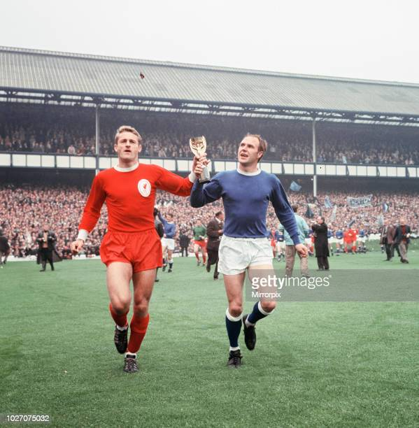 The 1966 FA Charity Shield Merseyside derby match between Liverpool and Everton at Goodison Park. Before the game, Roger Hunt, Alan Ball and Ray...