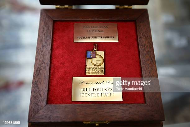 The 1968 European Cup winner's medal awarded to Bill Foulkes of Manchester United is displayed for sale at Sotheby's on November 6 2012 in London...
