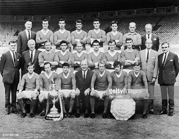 The 1968 Manchester United Football Club is shown in this recent picture Back row L Oliver secretary Noel Cantwell David Sadler David Herd William...
