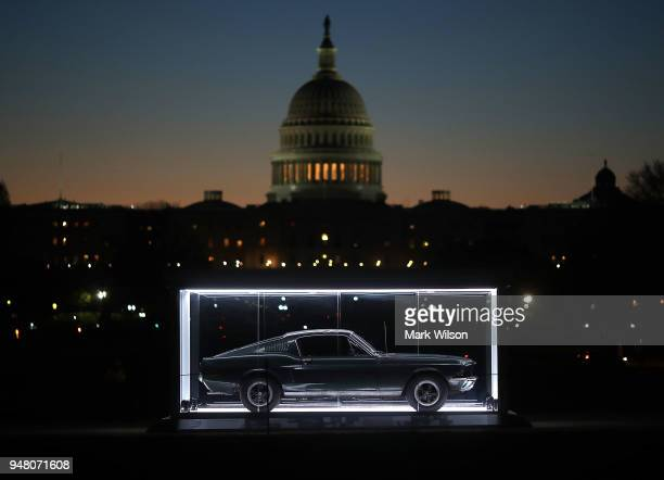 The 1968 Mustang that Steve McQueen drove in the1968 movie 'Bullitt' is on display on the National Mall on April 18 2018 in Washington DC The Bullitt...