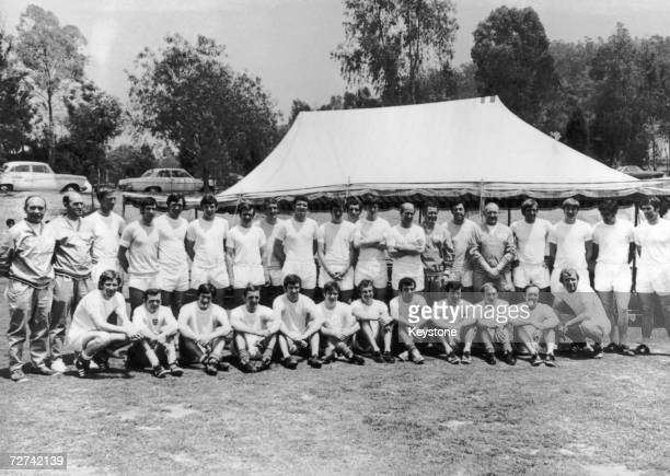 The 1970 England World Cup sqaud including players and back room staff in Mexico 12th June 1970 front row left to right Alan Ball assistant trainer...