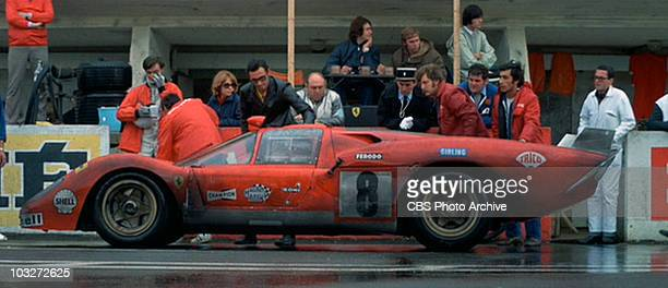 The 1970 Ferrari 512 S being worked on in the movie 'Le Mans' 1971 Image is a frame grab