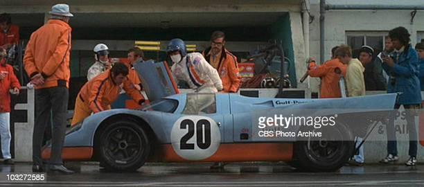 The 1970 Porsche 917 K being worked on in the movie 'Le Mans' 1971 Image is a frame grab
