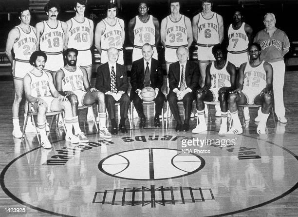 The 197273 World Champions of basketball New York Knicks pose for a team portrait at Madison Square Garden in New York NY in 1973 Front row Henry...