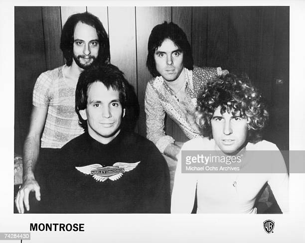 The 1974 lineup of rock band Montrose featured Alan Fitzgerald Ronnie Montrose Sammy Hagar and Dennis Carmassi