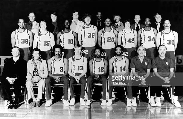 The 1977 World Champions of basketball Portland Trail Blazers pose for a team portrait in Portland Oregon Seated President Larry Weinberg General...