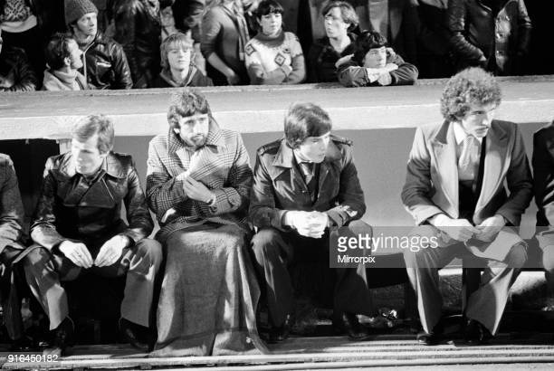 The 1978 Football League Cup Final between Liverpool Fc and Nottingham Forest Fc: Liverpool players on the bench, 22nd March 1978.