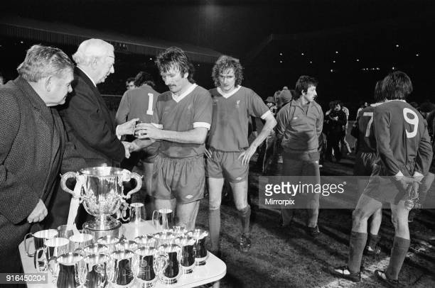 The 1978 Football League Cup Final between Liverpool Fc and Nottingham Forest Fc: Liverpool players receiving their runners up trophies, 22nd March...