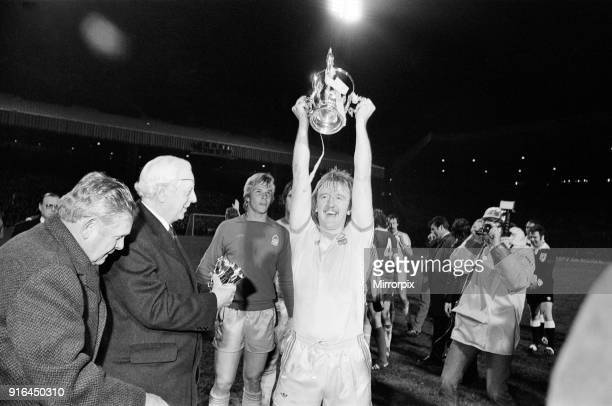 The 1978 Football League Cup Final between Liverpool Fc and Nottingham Forest Fc Nottingham Forest captain Kenny Burns lifts the League Cup 22nd...