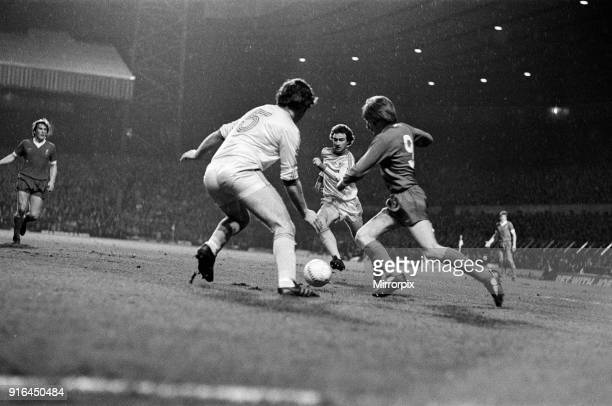 The 1978 Football League Cup Final between Liverpool Fc and Nottingham Forest Fc Steve Heighway tries to dribble past Nottingham Forest's Larry Lloyd...