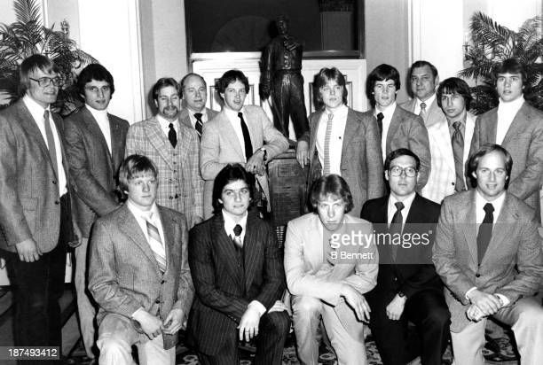 The 1980 US Olympic Team is honored with a special presentation of the Lester Patrick Trophy on March 10 1980 in New York New York Front row Bob...