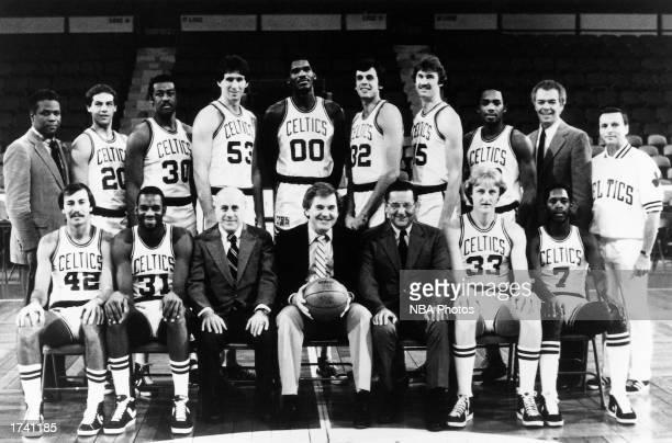 The 198081 NBA Champion Boston Celtics pose for a team portrait at the Boston Garden in Boston Massachusetts Front row Chris Ford Cedric Maxwell...
