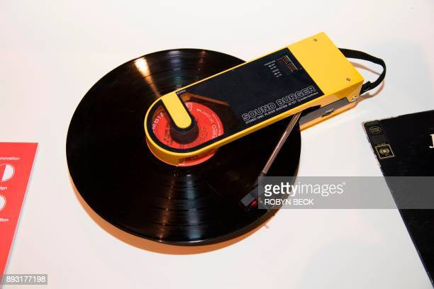 The 1981 Audio Technica Sound Burger a portable turntable created at the height of the Walkman era is displayed at The Museum of Failure in Los...