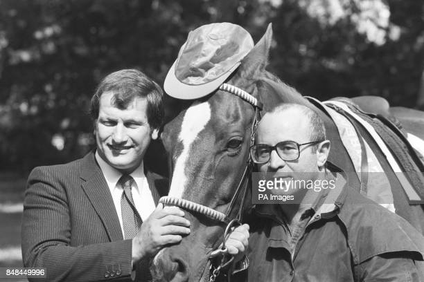The 1981 Grand National winners jockey Bob Champion and Aldaniti in London with actor Bob Hoskins to announce the Aldaniti Aintree Sponsored Walk The...