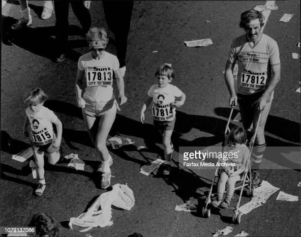 The 1982 Sun City to Surf race The Kennedy Family from West Pymble Marcel Eileen John 5 Michael Conor 3 August 08 1982