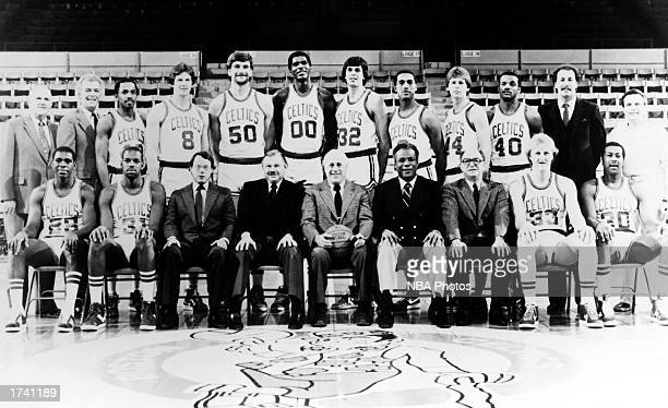 The 198384 NBA Champion Boston Celtics pose for a team portrait at the Boston Garden in Boston Massachusetts Front row Quinn Buckner Cedric Maxwell...