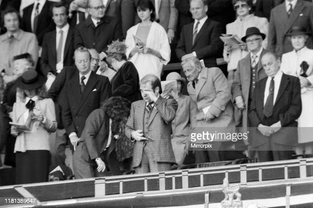 The 1984 FA Cup Final at Wembley Stadium Final score Everton 2 v Watford FC 0 Watford chairman Elton John with wife Renate Blauel sheds a tear a the...