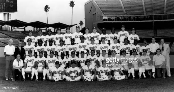 The 1985 Los Angeles Dodgers pose for the team photo Batting practice catcher Todd Maulding batboys Mark Bossert Dan Edwards Jon Scott and Ben Hwang...