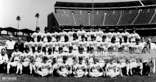 The 1985 Los Angeles Dodgers pose for the team photo Batting practice catcher Todd Maulding batboys Dan Edwards Jon Scott Ben Hwang and Howard...