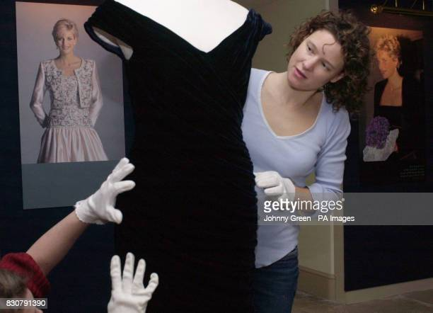 The 1985 Victor Edelstein ink blue silk velvet dress worn by Princess of Wales in the same year at the White House where she famously danced with...