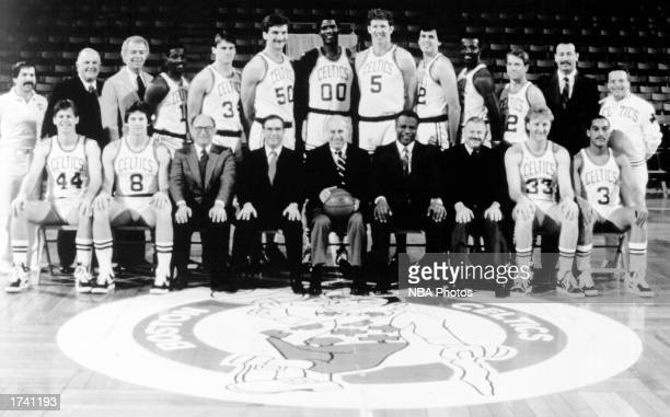 The 198586 NBA Champion Boston Celtics pose for a team portrait Front row Danny Ainge Scott Wedman Vice Chairman and Treasurer Alan Cohen Executive...