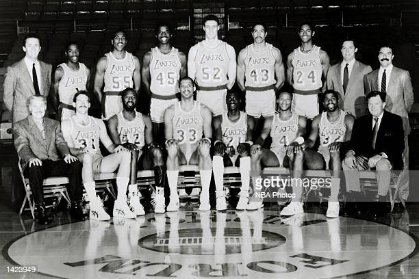 The 198687 World Champions of basketball Los Angeles Lakers pose for a team portrait at the Forum in Los Angeles California in 1987 Front row Owner...