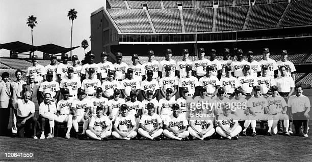 The 1988 Los Angeles Dodgers pose for a team portrait circa 1988 at Dodger Stadium in Los Angeles California Top Row Tim Crews Mario Soto Mike...