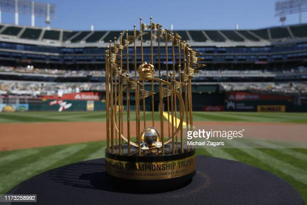 The 1989 World Series trophy is displayed on the field during a pregame ceremony honoring the Oakland Athletics 1989 World Series Championship team...