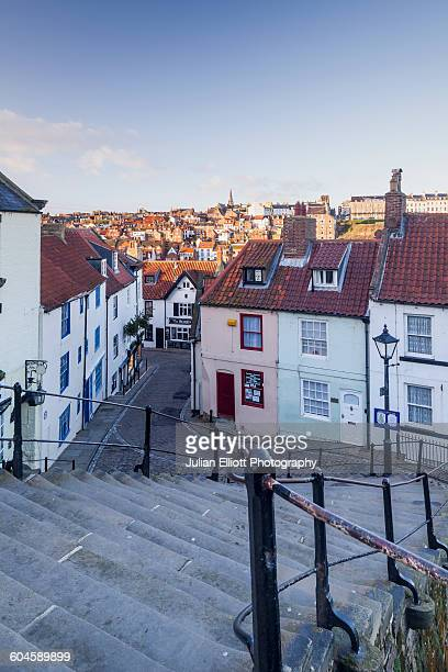 the 199 steps in whitby. - whitby north yorkshire england stock pictures, royalty-free photos & images