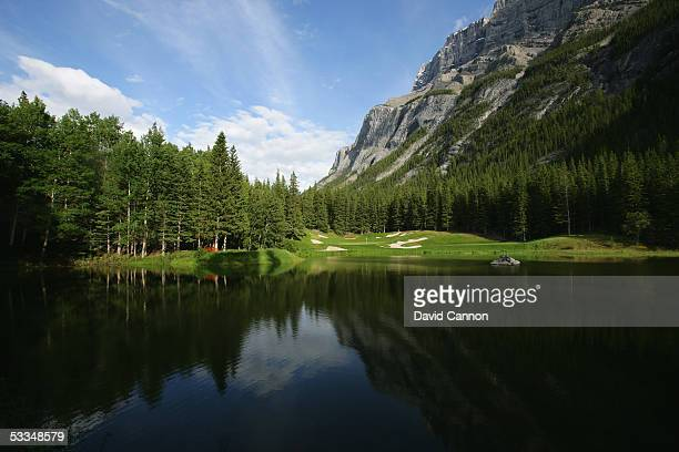 The 199 yard par 3, 4th hole 'The Devil's Cauldron' on the Stanley Thompson Eighteen Course at The Fairmont Banff Springs Resort on June 24, 2005 in...
